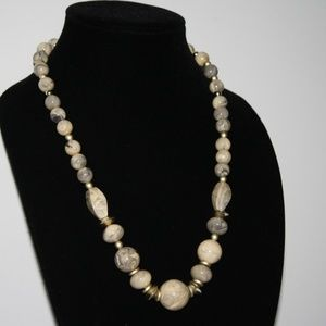 Vintage creme and grey necklace 24 inches
